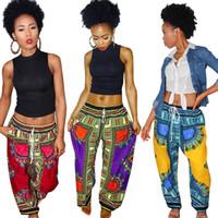 novas roupas africanas para mulheres venda por atacado-Bohemia Digital Impresso calças soltas 5 cores Mulheres africanas Ancara Calças Vintage Verão bolso Casual perna larga Calças roupas novas OOA6909