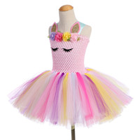 Wholesale dance dresses for sale for sale - hot sale Unicorn Party Girls TUTU Dress dance Costumes Summer Wedding Dresses For Kids