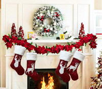 Wholesale christmas decorations for sale - Group buy Christmas Sock Gifts Xmas Tree Decor Stockings Pendant Sock Ornaments Kids Candy Bag Gift Christmas Decoration For Home