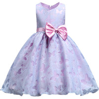 grandes vestidos de fiesta de flores al por mayor-Baby Girl Birthday Dress Butterfly Kids Girl Wedding Flower Girls Dress Gran arco tutu Princesa Fiesta Pageant Vestido Formal Prom