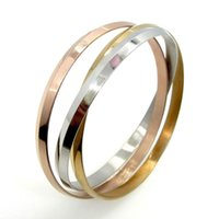 современные браслеты оптовых-New fashion love jewelry high quality titanium steel tricolor ladies bangle bracelet for modern women bracelet gift with velvet bag