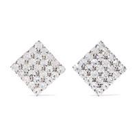 знаменитая дизайнерская одежда оптовых-2019 высокого качества известного дизайнер позолоченная квадратная полных алмазов ухо клип мода из нержавеющей сталь серьги женской одежды