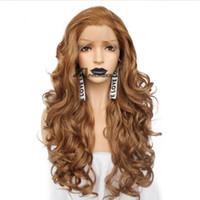 ingrosso parrucche rosse bionde di pizzo-Parrucca sintetica anteriore del merletto del 2019 Parrucche ondulate naturali lunghe ondulate bionde dorate della bionda per le donne
