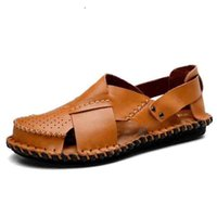 eae282804387 Outdoor genuine leather men sandals summer cow leather new for beach male  shoes mens gladiator sandal leather sandals Size 38-45