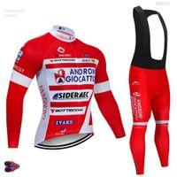 jersey rojo de manga larga al por mayor-2019 Pro UCI Team Red ANDRO Ciclismo Jersey Bib pantalón de manga larga 9D Gel Pad Bike Bike Ropa MTB Cycling Jersey Set