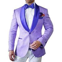 groomsmen smokin mor toptan satış-Son Tasarım Bir Düğme Işık Mor Paisley Şal Yaka Düğün Damat Smokin Erkekler Parti Groomsmen Suits (Ceket + Pantolon + Kravat) K23