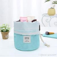 Wholesale print kits for sale - Group buy Fashion Barrel Shaped Travel Cosmetic Bag Make Up Bag Drawstring Elegant Drum Wash Kit Bags Makeup Organizer Storage Beauty Bag