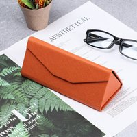 Wholesale sunglasses magnets resale online - Triangle Folding Sunglasses Box PU Waterproof Strong Magnet Eyeglasses Accessories Candy Color Glasses Protective Organizer