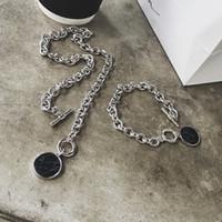 münzenscheibe halskette großhandel-Marmor Kette Kurze Halskette Armband Kette Set Disc Manschette Münze Armreif Mode Acryl Armreifen Halskette Für Frauen