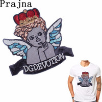 Wholesale embroideried sequin for sale - Group buy Prajna Cute Embroideried Thinking Crown Angel Sequin Patches For Clothes Sewing On T shirt Exquisite Sticker Jeans Decor D