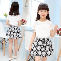 Wholesale 2pc girl tracksuit for sale - Group buy 4 y Fashion Children Girls Clothing Sets Teenage Summer Tracksuit For Girl Clothes Sets pc Brand Lace T Shirt flower Skirts Y190522