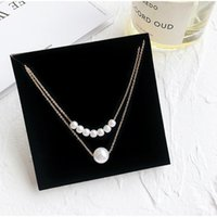 Wholesale pearl pendant neck resale online - Simple Double Imitation Pearls Clavicle Chain Neck Collar Necklace Choker Women Jewelry Gift