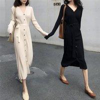 beyaz düz elbise stilleri toptan satış-2019 Zarif Beyaz Uzun Kollu Örme Triko Elbise Fransız Stil Siyah Tek Sıra Toka İnce Düz Elbise
