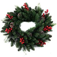 ingrosso decorazione bacca-15.7 '' Ghirlanda di ghirlande di foglie di ghirlanda artificiale con ghirlanda di decorazioni natalizie con decorazione a parete in corno di pino naturale