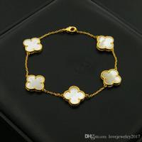 trevo de folha de aço inoxidável venda por atacado-Aço Inoxidável 316L Shell trevo pulseiras com ágata preta trevo de quatro folhas para as mulheres de prata rosa flor de ouro pulseira marca nomeada