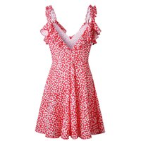 línea de verano vestidos de sol al por mayor-Moda-2019 Summer Women Beach Short Dress Boho Floral Ruffle V Neck Backless A-line Dress Casual Plisado Mini Sun Red Clothes