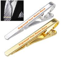 krawatte krawatte großhandel-2pcs-Lot Gravierte Logo Service Personalisierte Metall Silber Gold Krawatte Krawatte Bar Schließe Clip Customized breastpin Kostenloser Versand