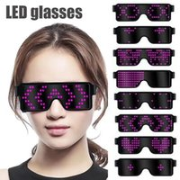 Wholesale usb flash waterproof resale online - LED Sunglasses Modes Quick Flash LED Display Screen Party Glasses USB Charge Glasses LED Eyeglasses Outdoor Eyewear CCA11699