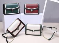 ms torba toptan satış-Tek omuz yeni deri MS çanta taş deri renk eşleştirme zincir kilit aslant moda yılan çanta Kadın moda çanta HK