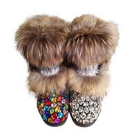 плюшевые плоские туфли для женщин оптовых-Natural Real  Fur Snow Boots Women Bling Gem AB Crystals Rhinestones Flat Mid-Calf Booties Lady Warm Plush Winter Shoes Woman