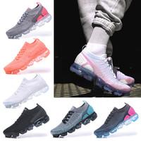 sapatos brancos pretos para senhoras venda por atacado-Nike Air VaporMax 2018 Flyknit 2.0 running shoes preto rosa tênis sports running 2 designer walking shoes senhoras sapatilhas branco eur 36-40