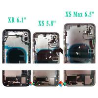 carcasa de iphone ensamblaje flex al por mayor-Para el iphone x marco de las X Max Volver media del chasis del montaje de la caja de la cubierta completa de la batería Puerta trasera con Flex Cable + DHL