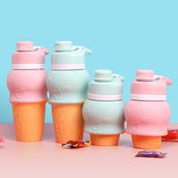 buzlu su şişeleri toptan satış-Dondurma Silikon Katlanır Su Isıtıcısı Çocuklar Açık Geri Çekilebilir Su Şişesi Gıda Sınıfı Dondurma Şekli Katlanabilir Su Şişeleri