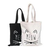 çanta kedi baskısı toptan satış-Moda alışveriş çantası Tuval kumaş kullanımlık bakkal tote büyük katlanabilir çizgili pamuk çanta eko kesesi sevimli kedi baskı kesesi shopper