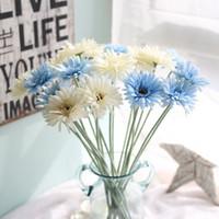 gerbera süsleme toptan satış-Düğün Dekoratif Çiçek Yapay Papatya Ipek Çiçek Gerbera Sahte Bitkiler Ev Dekorasyon için Afrika Papatya Çiçek Buketleri