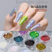 mor elmas gül toptan satış-12 adet / takım nail art glitter altın beyaz mor gül elmas gevreği süper ince Bukalemun tırnak MZ174