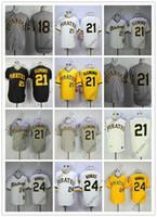clemente jersey cinza venda por atacado-Barato PiratesS 18 # / 21 # Clemente / 24 # BONDS Branco Preto Cinza Amarelo Camisas de camisola de reminiscência de Basebol Costurado Qualidade Superior!