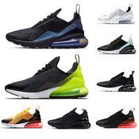 erkekler için kahverengi ayakkabı toptan satış-AIR MAX 270  2019 Yeni Fotoğraf Mavi Erkek Kadın Koşu ayakkabı Flair Üçlü Siyah Çekirdek beyaz Erkek Eğitmen Spor Orta Zeytin Kahverengi eğitmenler Sneakers 36-45