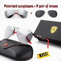 façon lunettes de soleil achat en gros de-Couleur (4) Lunettes de soleil polarisées de haute qualité avec lunettes de soleil à monture métallique Lunettes de vue Ray Lunettes Scudarie Farreri F3460M Lentille LOGO bidirectionnel Livraison gratuite