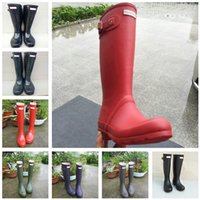 Wholesale tall high woman boots for sale - Fashion Women Rainboots Knee high Tall Rain Boots Famous Brand Waterproof Rubber Water Shoes Low Heel Rainboots Ladies Designer Rainshoes