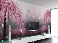 Wholesale arts swans resale online - 3d wallpaper custom photo mural d Beautiful dreamy pink cherry swan lake landscape TV background wall home decor wall art pictures