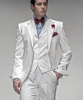 lazos blancos para la venta al por mayor-Boda Nueva venta caliente Dos botones blancos de los smokinges del novio muesca solapa padrinos de la mejor del Mens Hombre Trajes de baile Traje (chaqueta + pantalones + chaleco + tie) 4220