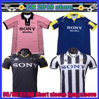 tops brancos do vintage venda por atacado-Retro Novo top 95 96 97 98 Juventus Branco Retro camisa de futebol 1997 1998 campeão da liga Juventus Vintage camisas de futebol 97/98 camisa de futebol