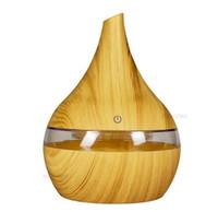 luftdiffusor ätherische öle großhandel-New 300ml USB-elektrischer Aroma Luftausströmer Holz Ultraschall-Luftbefeuchter Ätherisches Öl kühle Nebelhersteller für freies Verschiffen nach Hause