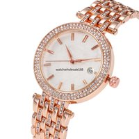 uhr diamanten porzellan großhandel-MK 3AA + Frauen Luxus China Armbanduhr Quarz-Batterie Designer Damen wasserdichtes Kleid Diamant Edelstahl Gold Silber T / T Uhren