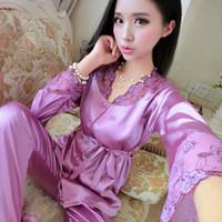 OUIRRY 2019 Brand Silk Pajamas Women Spring Autumn Long Sleeve Sleepcoat  Pants Two Piece Sleepwear Sexy Lace Pyjama Femme 2701f0be2