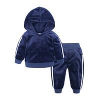 calças de treino menino bebê venda por atacado-Hoodies de veludo + calças 2 peça set para crianças meninos meninas roupas 2019 traje da criança crianças roupas roupas de bebê treino 1-7A