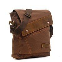 мужские рабочие сумки оптовых-Мужская холст Messenger сумка наплечная для iPad, устойчивый к царапинам старинные свободного покроя Crossbody сумки для поездок в школу и на работу
