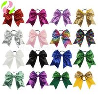 Wholesale inch solid boutique hair bows resale online - Solid Bow Hair Rope For Girls Kids Boutique Large Cheerleading Hair Bow Children Sequined Hair Accessories inches LJJV249