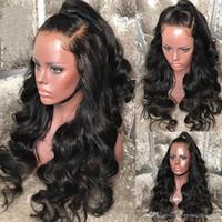 insan vücudu dalgası dolu peruk toptan satış-Üst Dantel Ön İnsan Saç Peruk Brezilyalı Vücut Dalga Remy Saç Siyah Kadınlar Için tam Dantel Peruk Ön Koparıp Peruk Ile Bebek saç