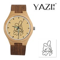 Wholesale bamboo glasses case for sale - Group buy YAZI Personalize Wooden Watch Cute Rabit Logo Watches Natural Bamboo Wood Case Wrist Watches Wood Stripe Band Memory Gift