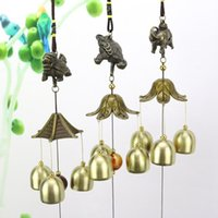 Wholesale chinese brass bells resale online - Hanging Wind Chime Bell Chinese Oriental Lucky Metal Pagoda Feng Shui Brass Buddha Elephant Spitor Fortune Lijiang Style