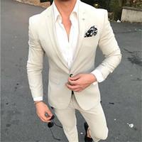terno de homens de jaqueta bege venda por atacado-Bege dos homens da forma Slim Fit Tuxedo Ternos Men Custom Made Mais recente do estilo Terno Men 2 Pieces Best Man Terno do casamento Bluset Jacket