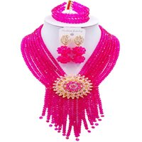 ingrosso collana di rosa calda dei branelli-Hot Seliing Fuchsia rosa africano donne gioielli in cristallo perline collana anniversario imposta 8C-SK-12