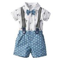 ingrosso set di cravatta-Tuta da bimbo estiva da uomo in puro cotone cravatta da mare con stella di ancoraggio stampata in due pezzi per bambini