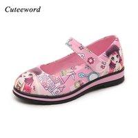 3d çizgi film ayakkabıları toptan satış-Sevimli kız nedensel deri ayakkabı karikatür 3D grafiti baskı prenses ayakkabı 3-12yrs kızlar çocuklar için çocuk açık sıc ...